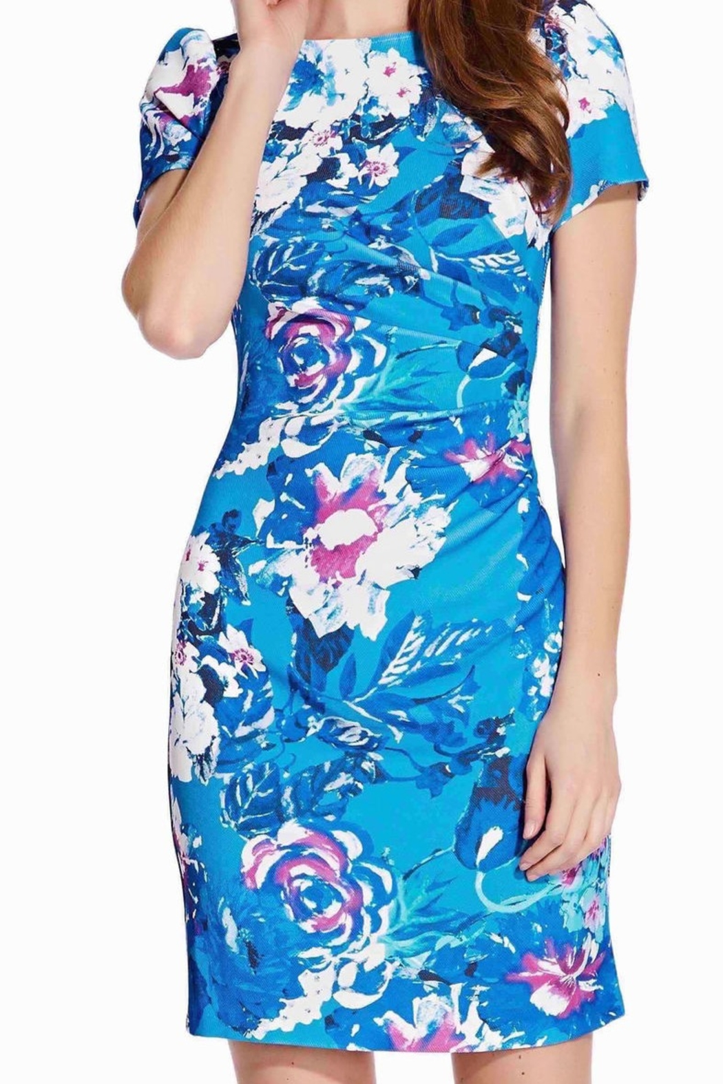 Adrianna Papell Floral Print Twill Short Sleeve Dress - Front Full Image