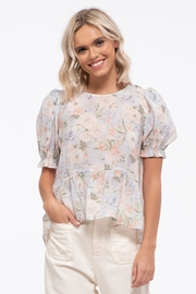 blu Pepper  Floral Print Woven Top - Front full body