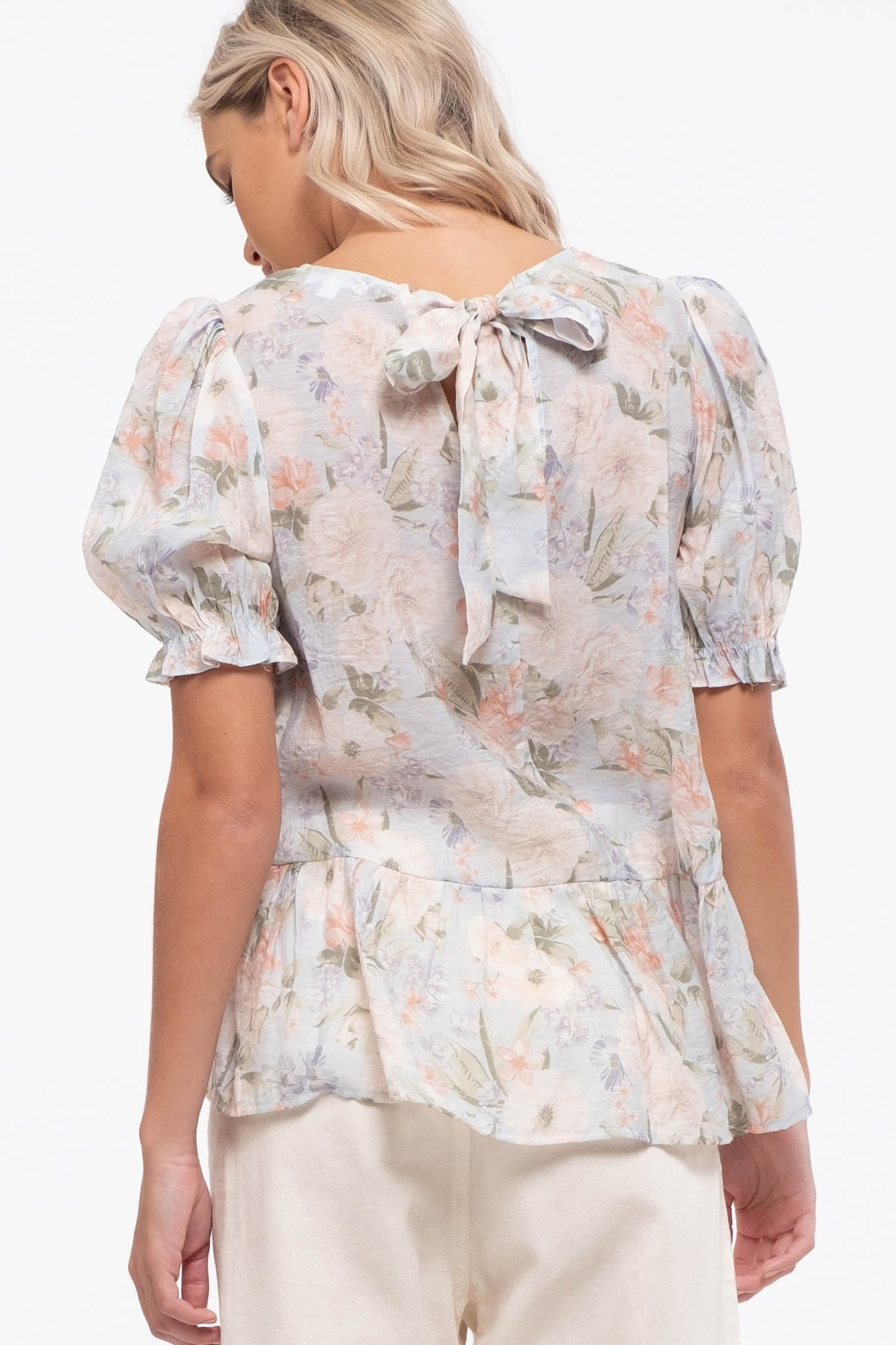 blu Pepper  Floral Print Woven Top - Side Cropped Image