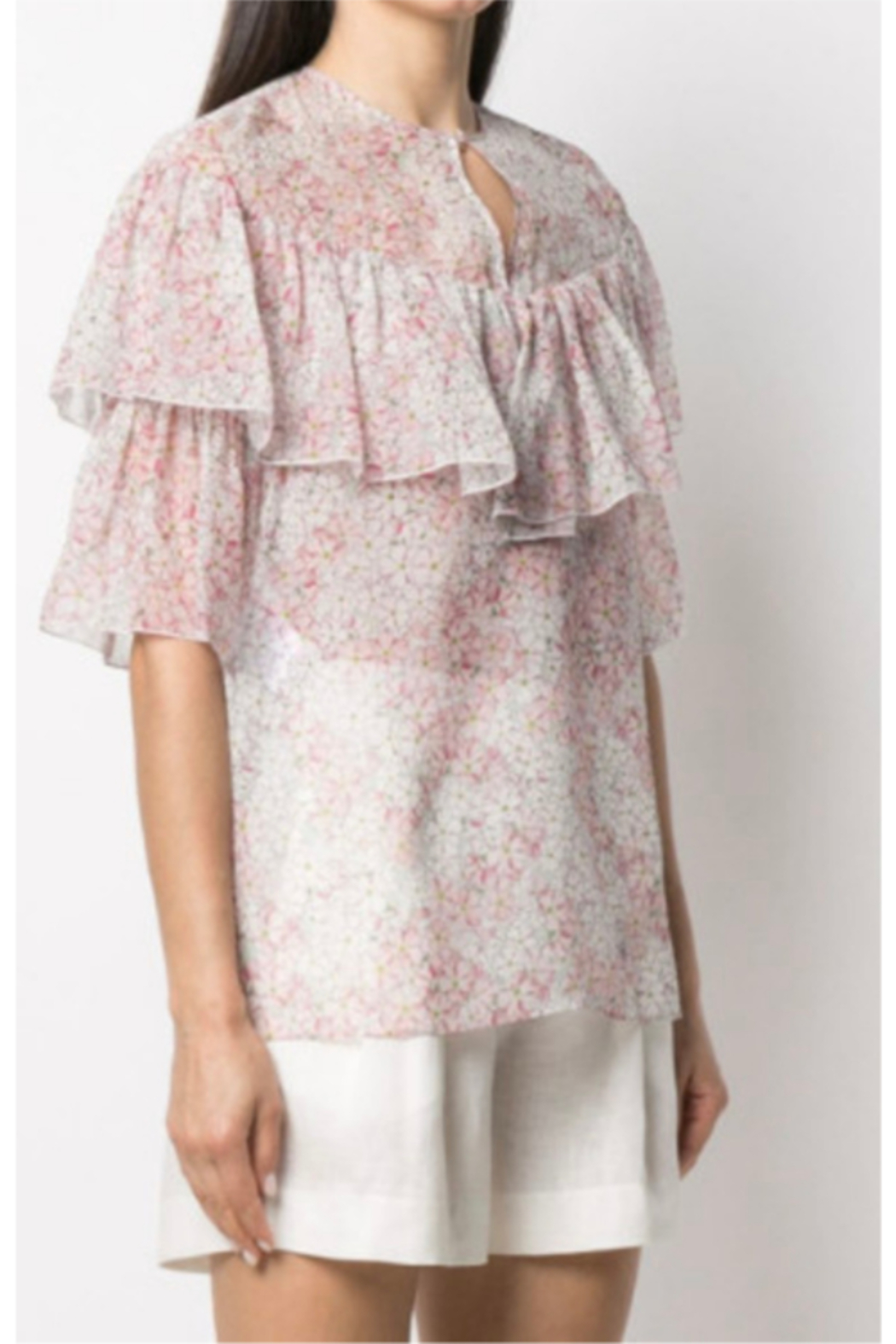 Giambattista Valli FLORAL PRINTED BLOUSE - Front Cropped Image