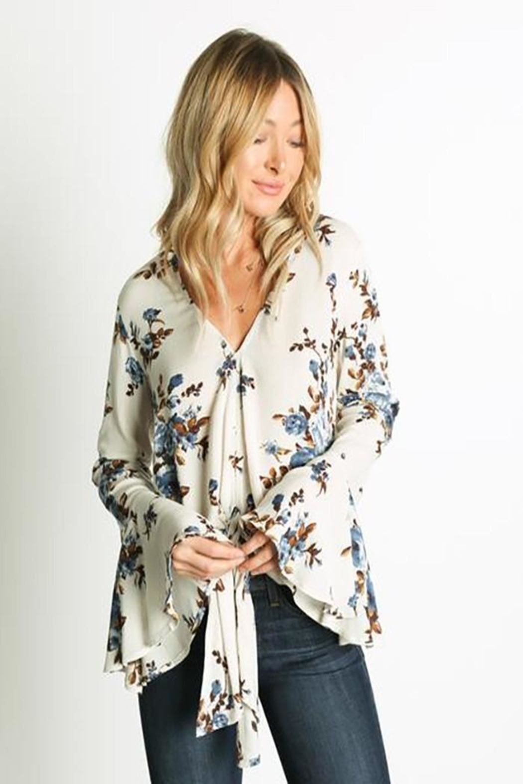 Grade and Gather Floral Printed Blouse - Main Image