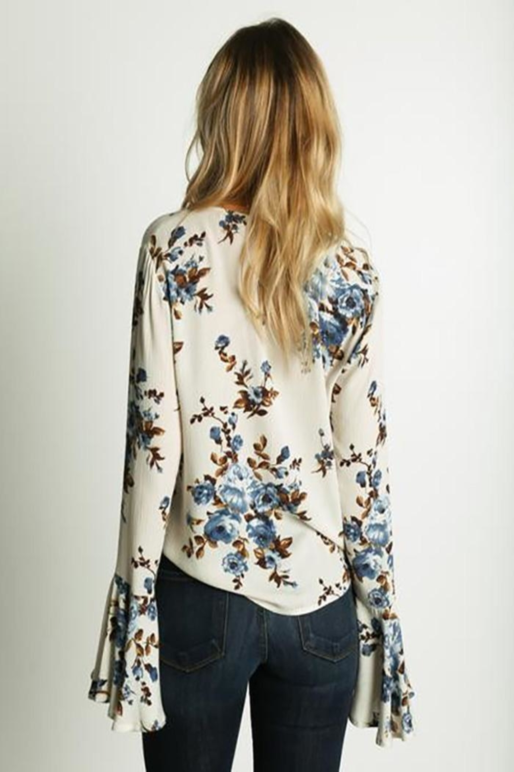 Grade and Gather Floral Printed Blouse - Back Cropped Image