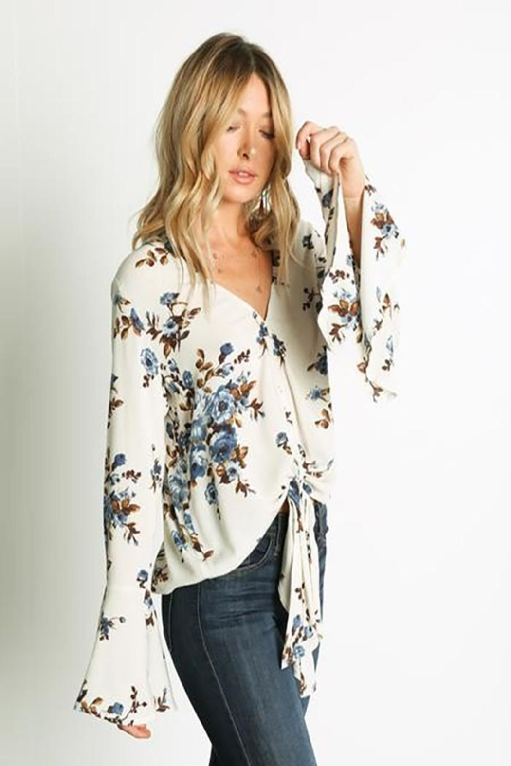Grade and Gather Floral Printed Blouse - Front Full Image