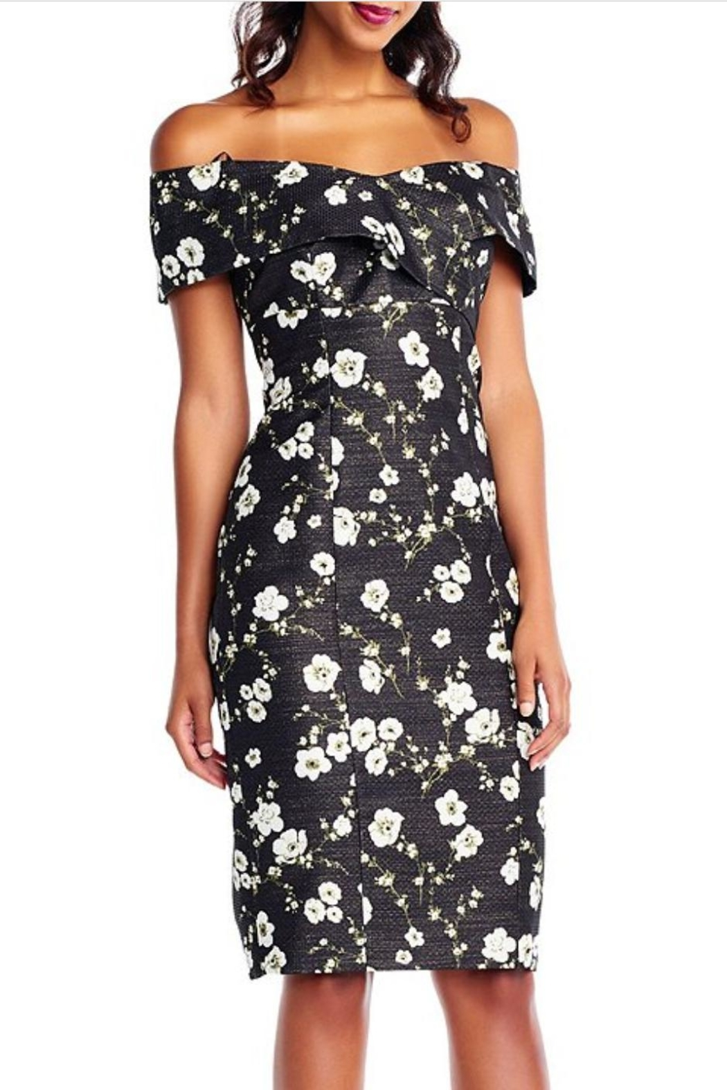 Adrianna Papell Floral Printed Metallic Dress - Main Image