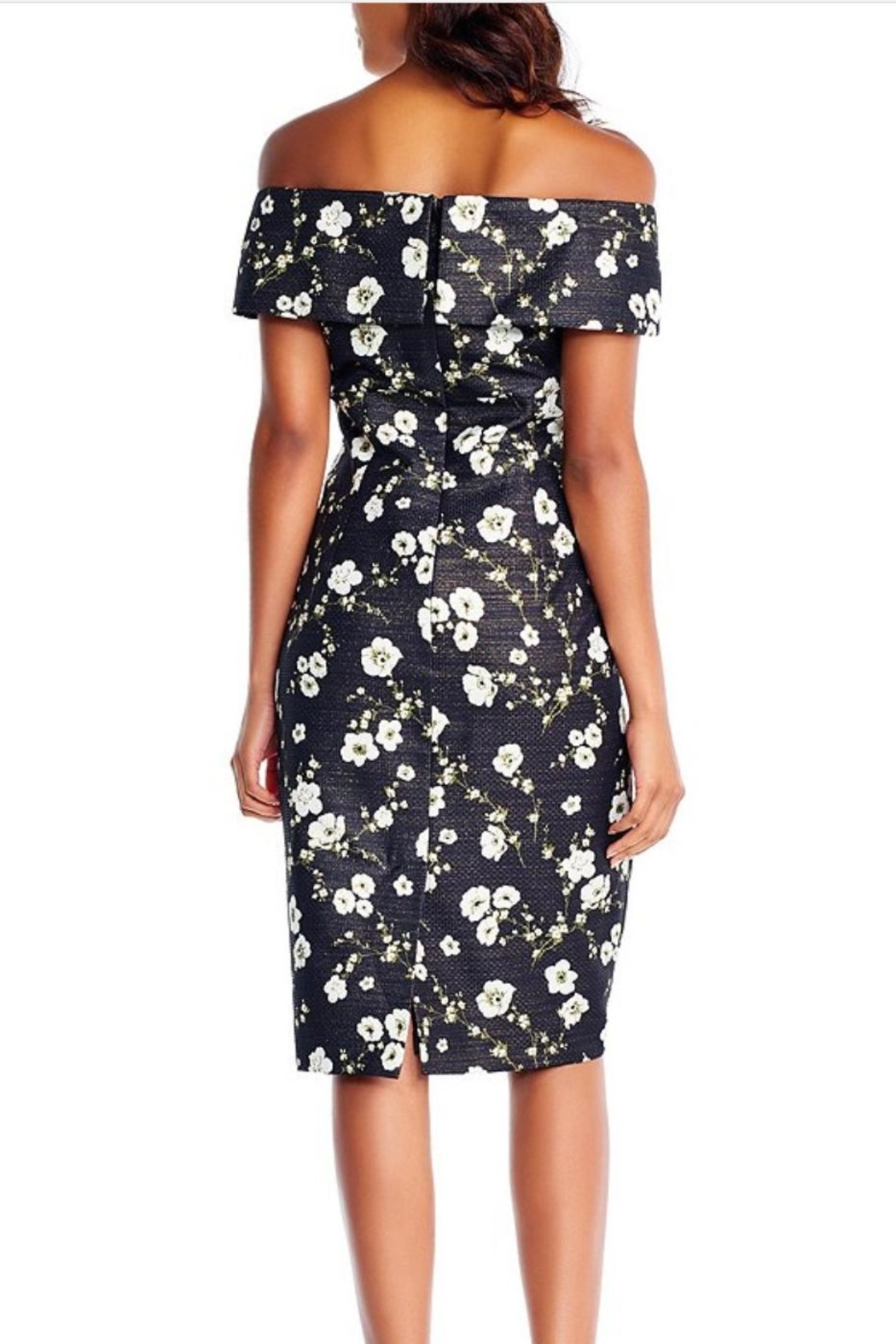 Adrianna Papell Floral Printed Metallic Dress - Front Full Image