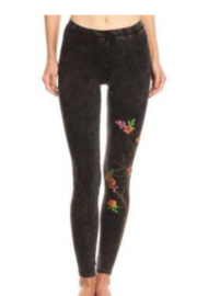 T Party Floral Printed Mineral Wash Leggings - Product Mini Image