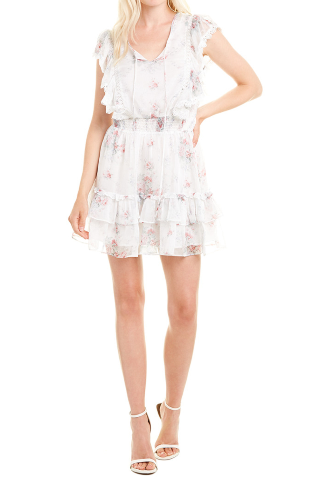 Stellah Floral Printed Ruffle Dress - Front Full Image