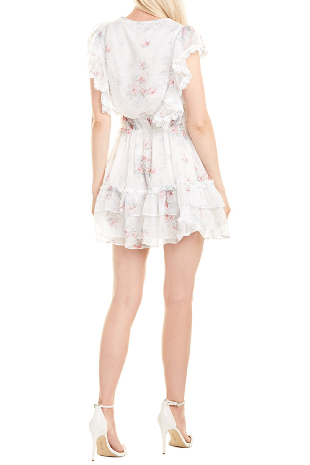 Stellah Floral Printed Ruffle Dress - Side Cropped Image