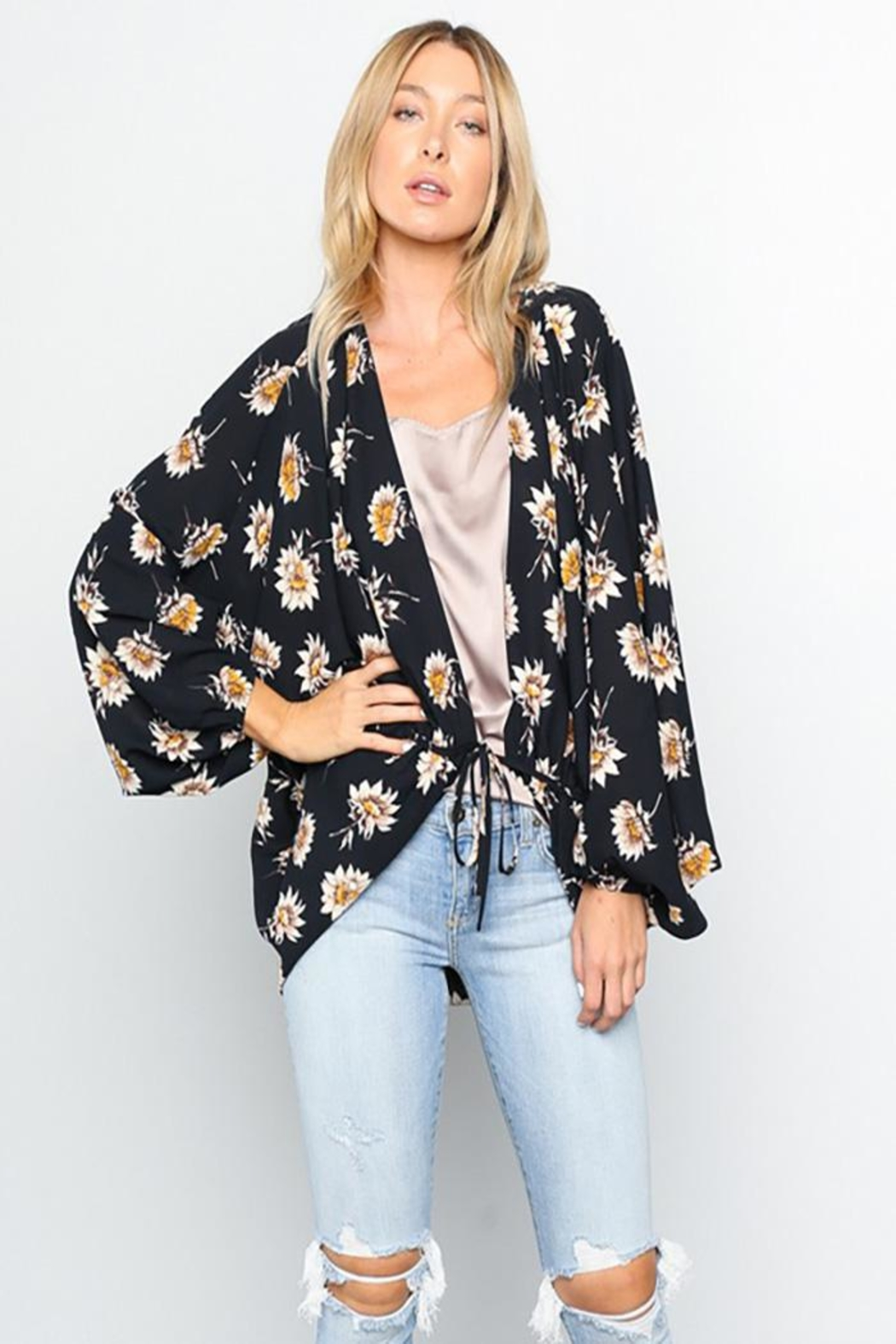 Grade and Gather Floral Printed Woven-Jacket - Front Cropped Image
