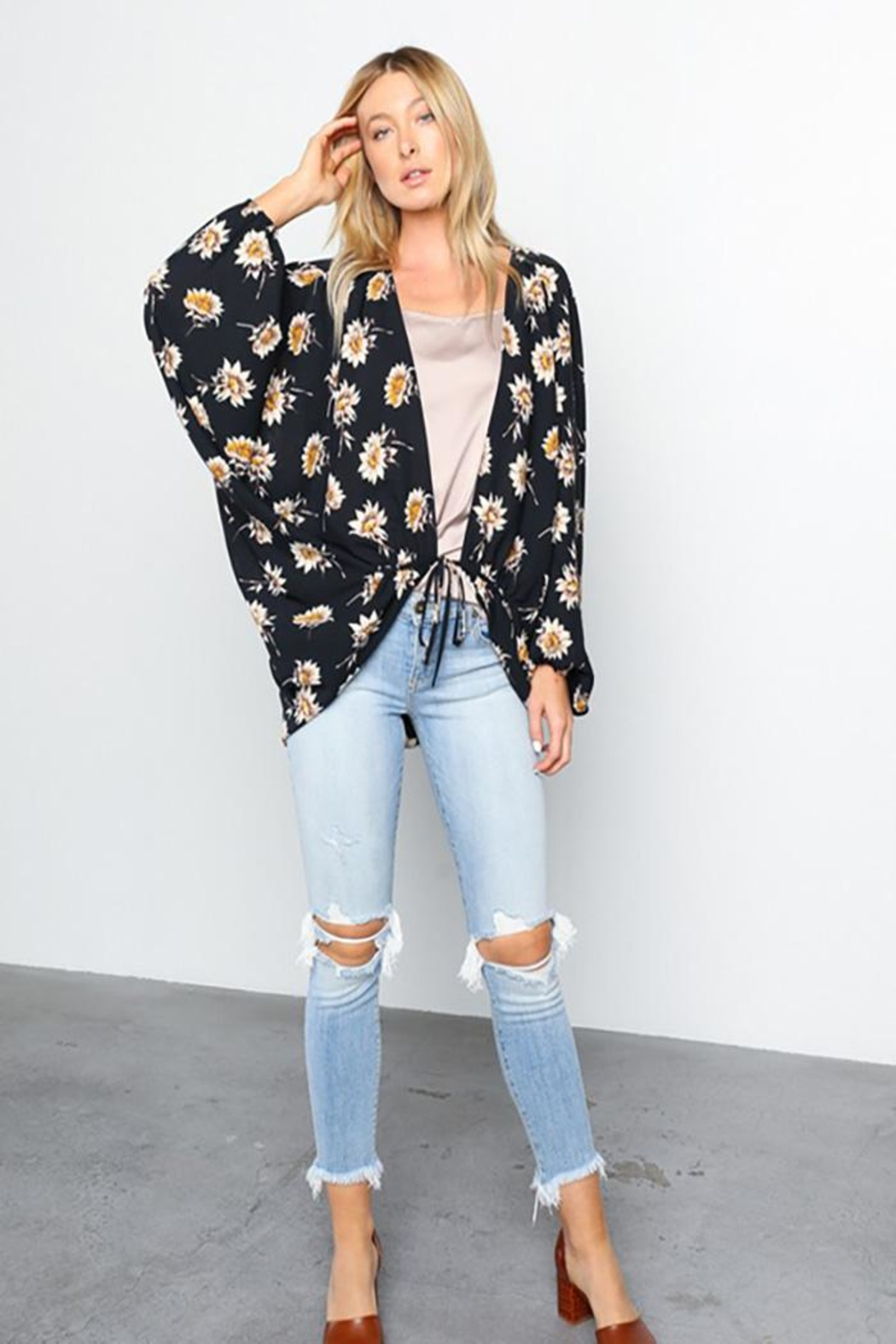Grade and Gather Floral Printed Woven-Jacket - Side Cropped Image