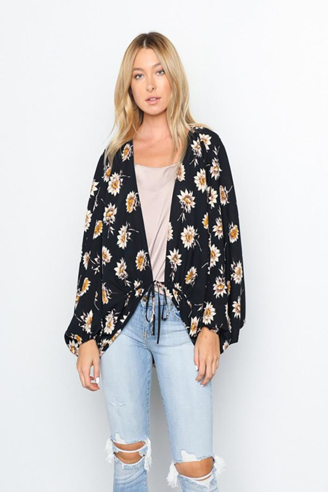 Grade and Gather Floral Printed Woven-Jacket - Back Cropped Image