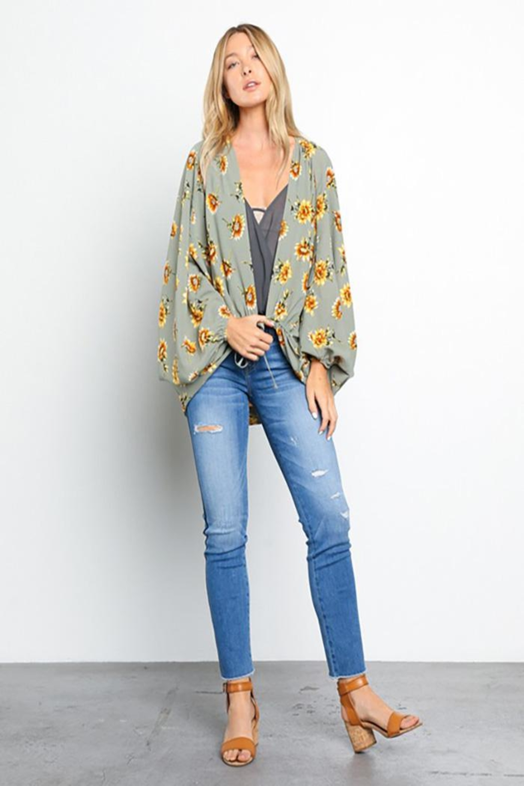 Grade and Gather Floral Printed Woven-Jacket - Front Full Image