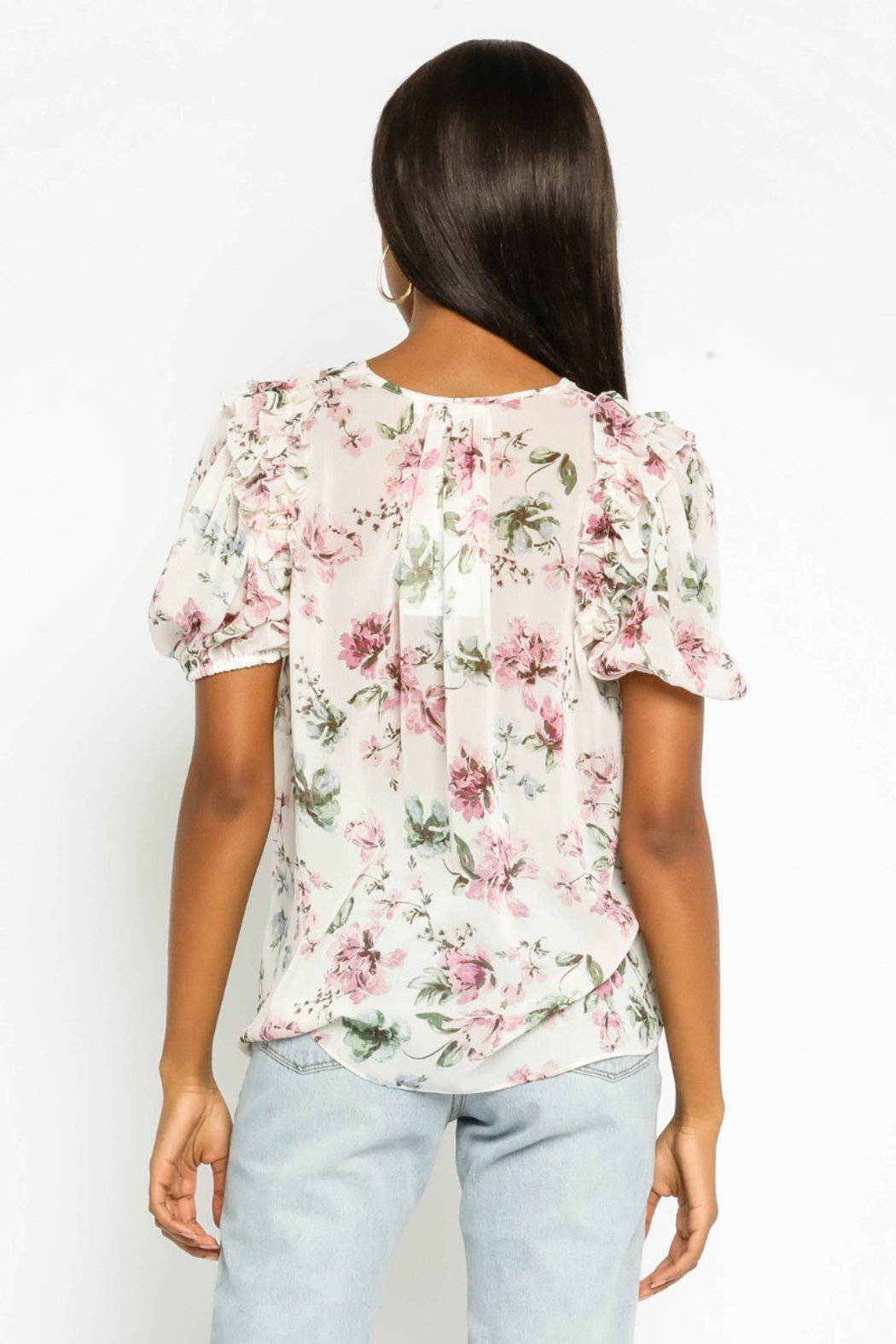 Olivaceous  Floral Puff Sleeve Top - Front Full Image