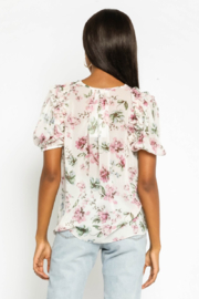 Olivaceous  Floral Puff Sleeve Top - Front full body