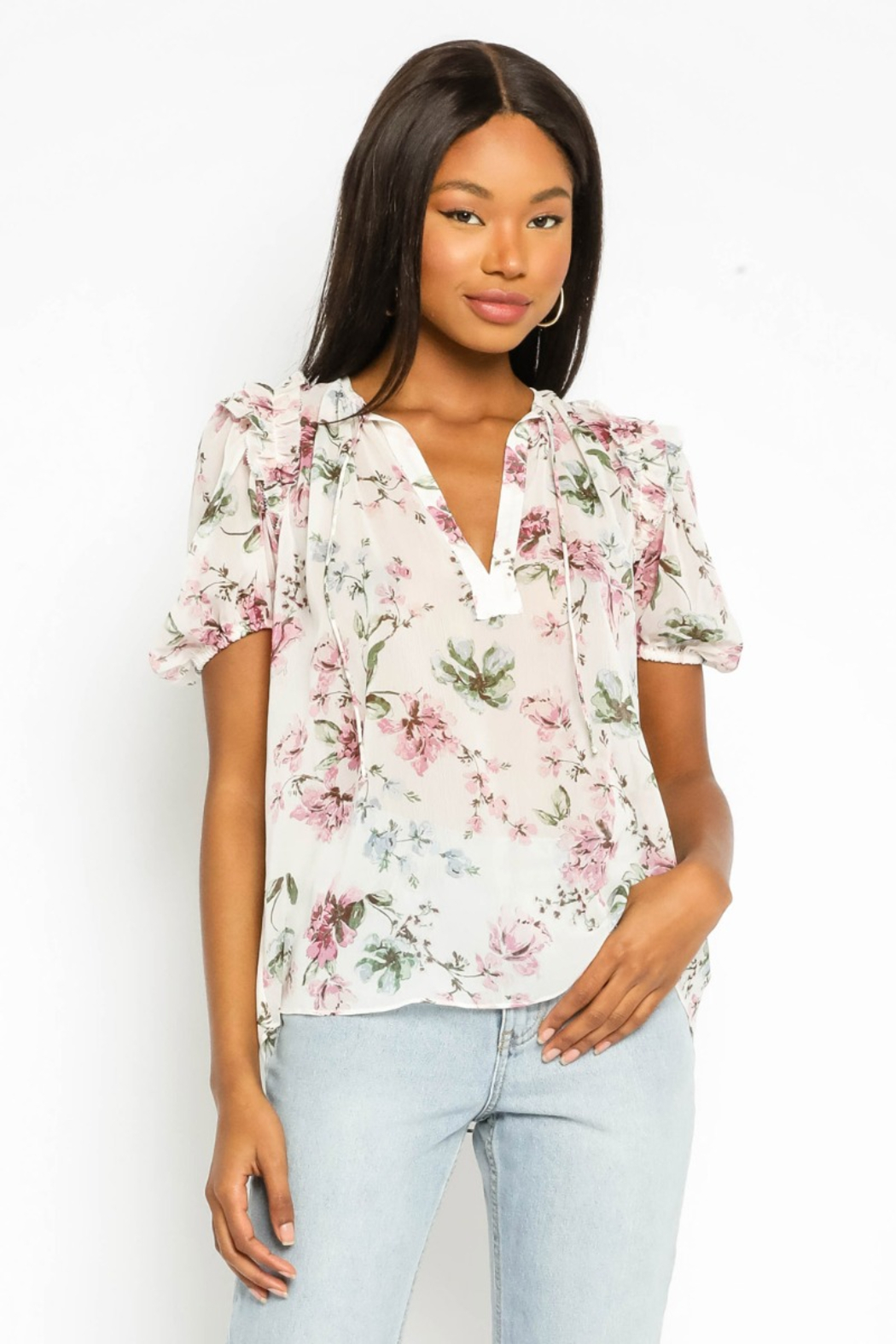 Olivaceous  Floral Puff Sleeve Top - Main Image