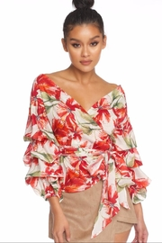 luxxel Floral Puff Wrap-Top - Product Mini Image