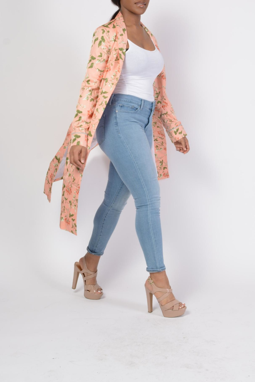 MODChic Couture Floral Robe Duster - Front Full Image
