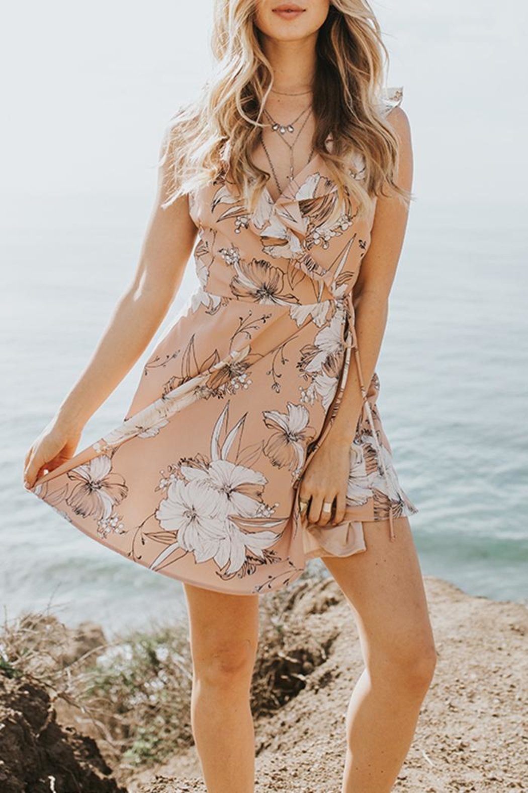 Lost + Wander Floral Ruffle Dress - Front Cropped Image