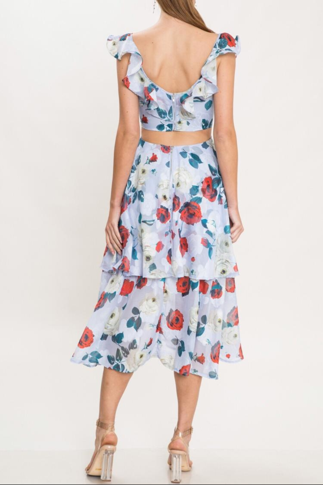 Latiste Floral Ruffle Dress - Front Full Image