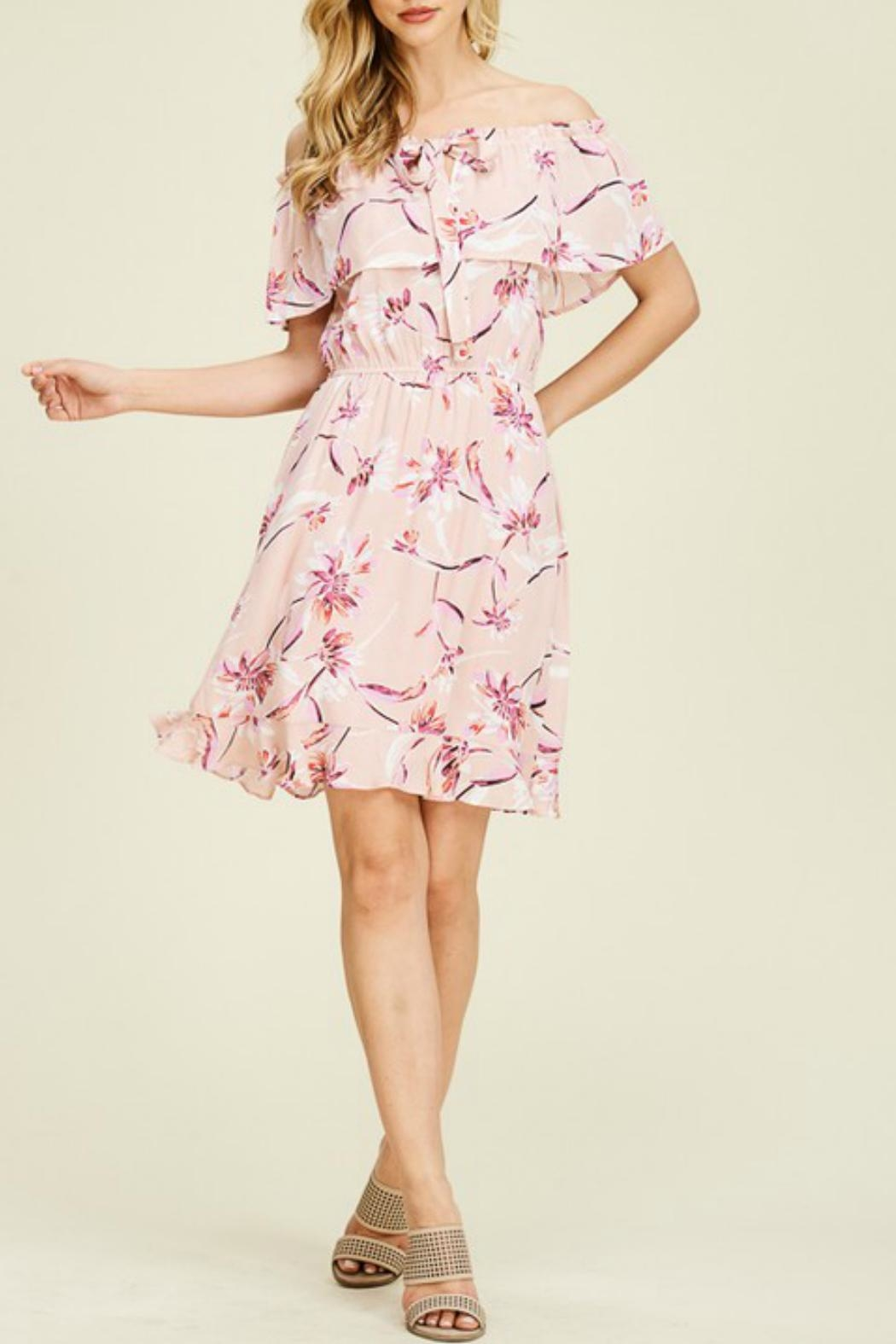 Staccato Floral Ruffle Dress - Side Cropped Image