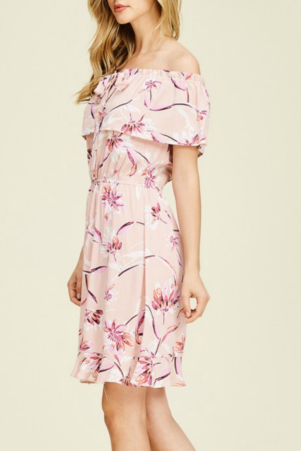 Staccato Floral Ruffle Dress - Front Full Image