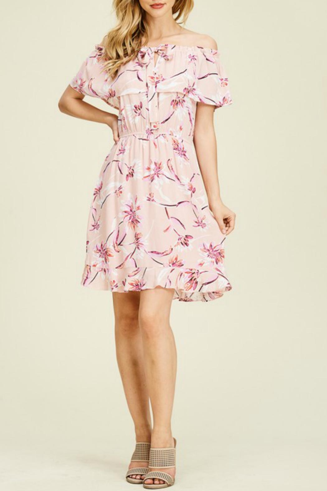Staccato Floral Ruffle Dress - Back Cropped Image