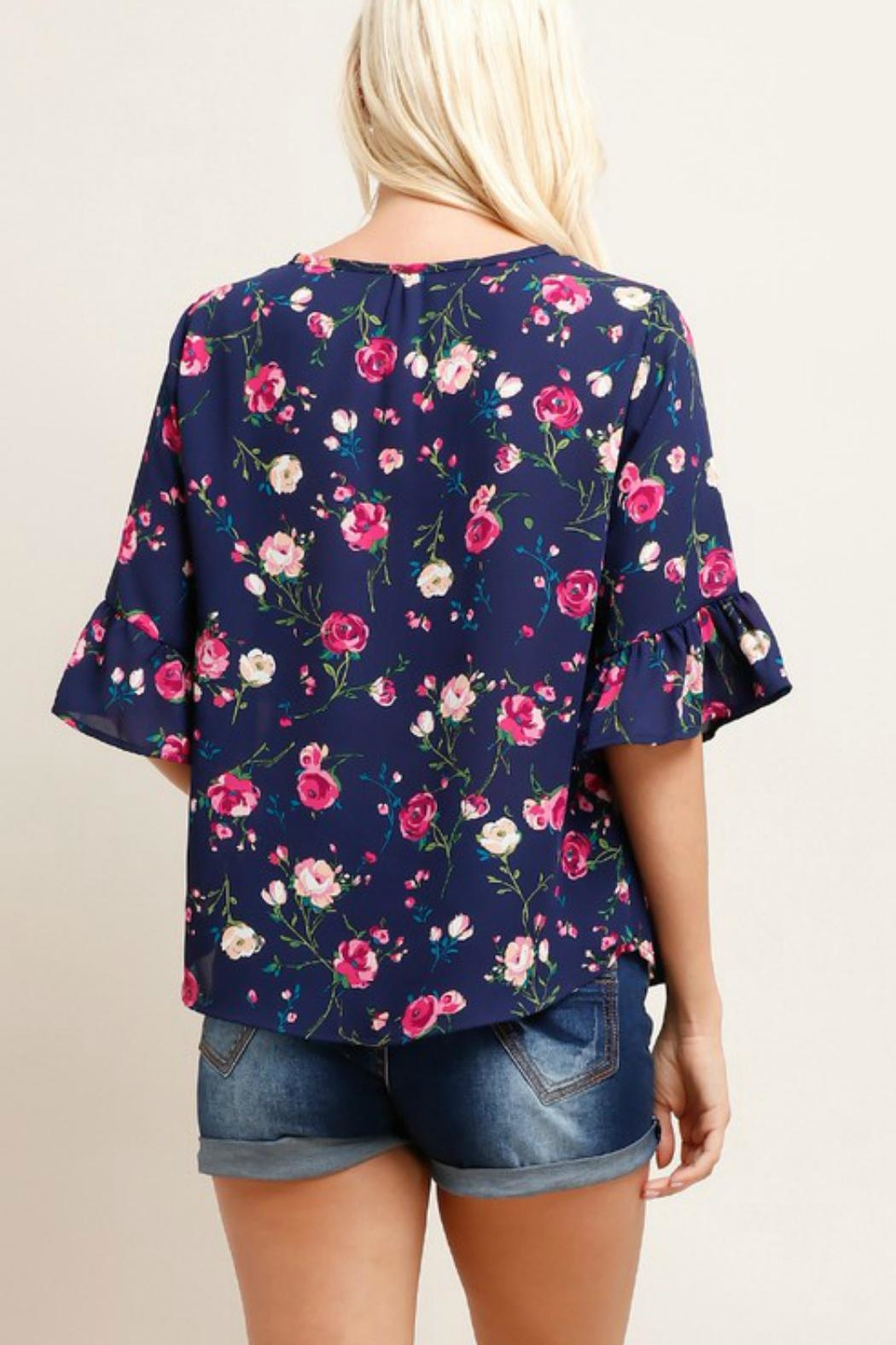 Watermelon Floral Ruffle Sleeve - Front Full Image