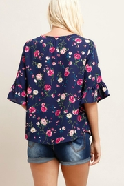 Watermelon Floral Ruffle Sleeve - Front full body