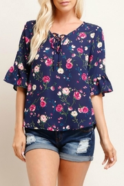 Watermelon Floral Ruffle Sleeve - Front cropped