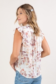 Lovestitch  Floral Ruffle-Sleeve Top - Side cropped