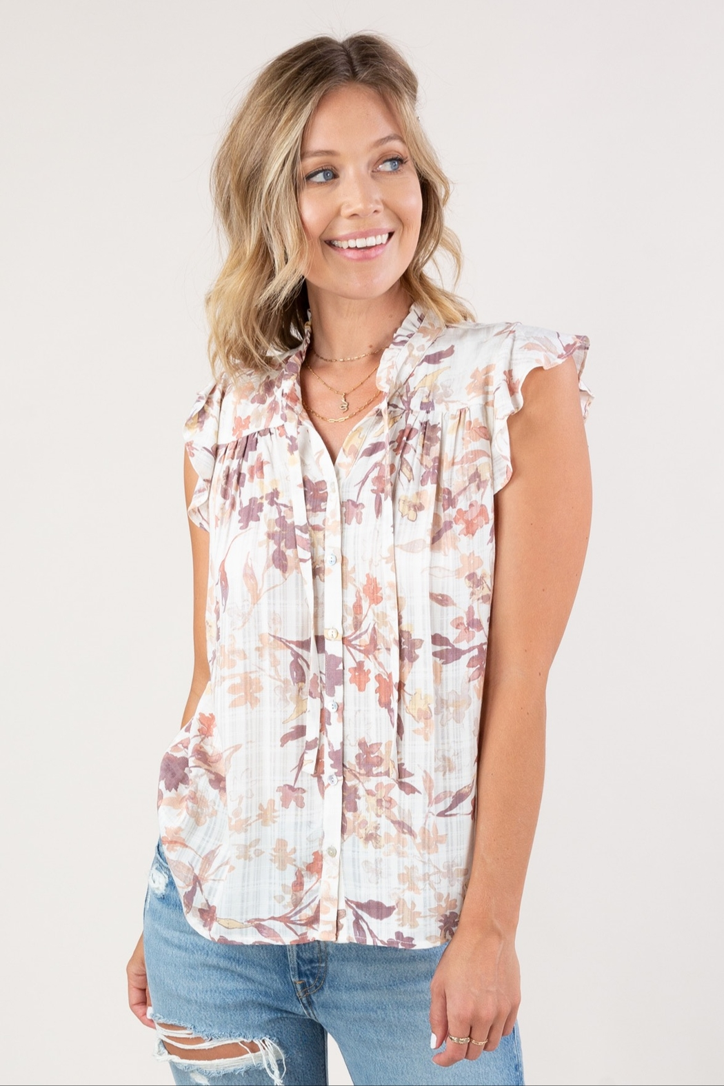 Lovestitch  Floral Ruffle-Sleeve Top - Main Image