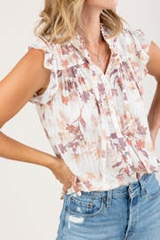 Lovestitch  Floral Ruffle-Sleeve Top - Back cropped