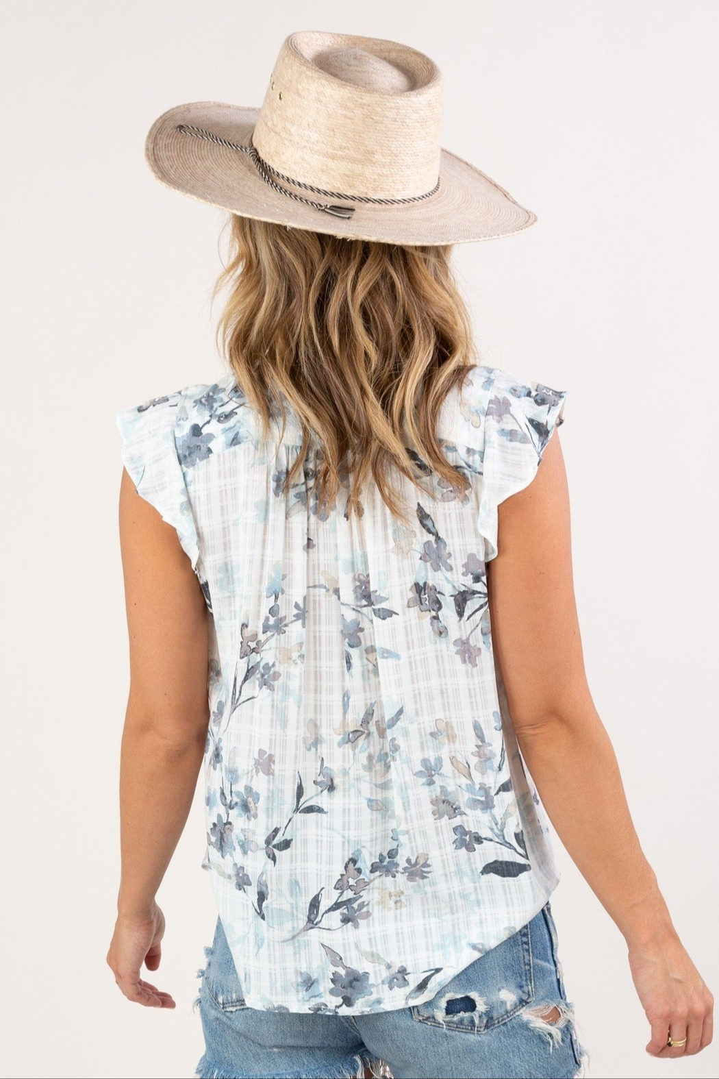 Lovestitch  Floral Ruffle-Sleeve Top - Front Full Image