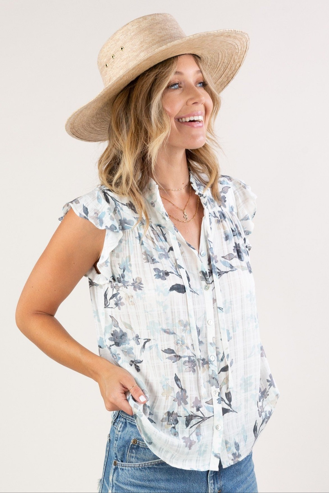 Lovestitch  Floral Ruffle-Sleeve Top - Front Cropped Image