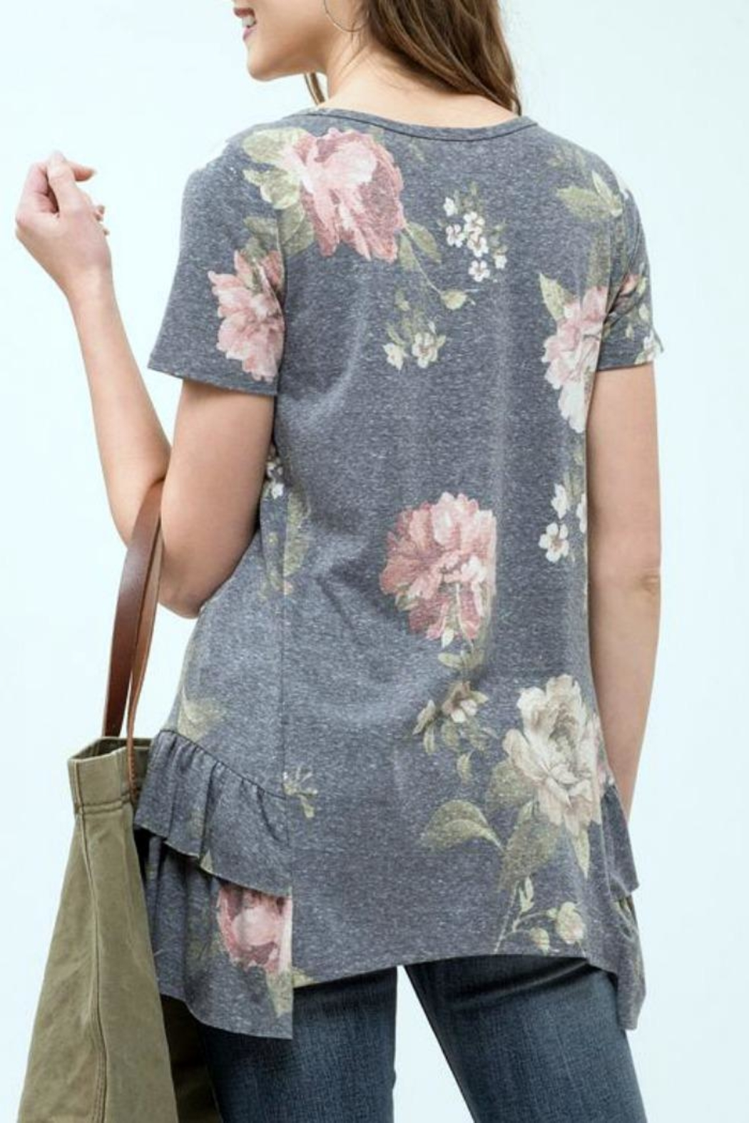 Blu Pepper Floral Ruffle Top - Side Cropped Image