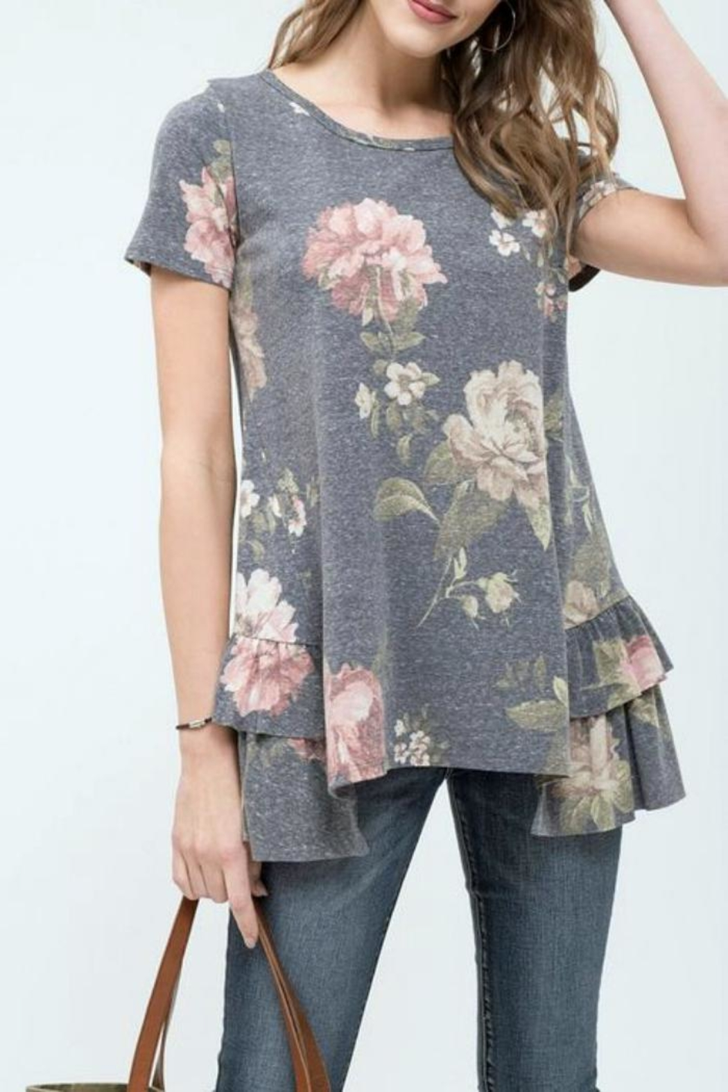 Blu Pepper Floral Ruffle Top - Front Cropped Image
