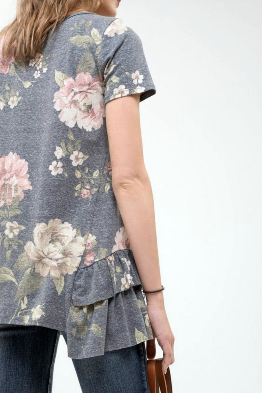 Blu Pepper Floral Ruffle Top - Front Full Image