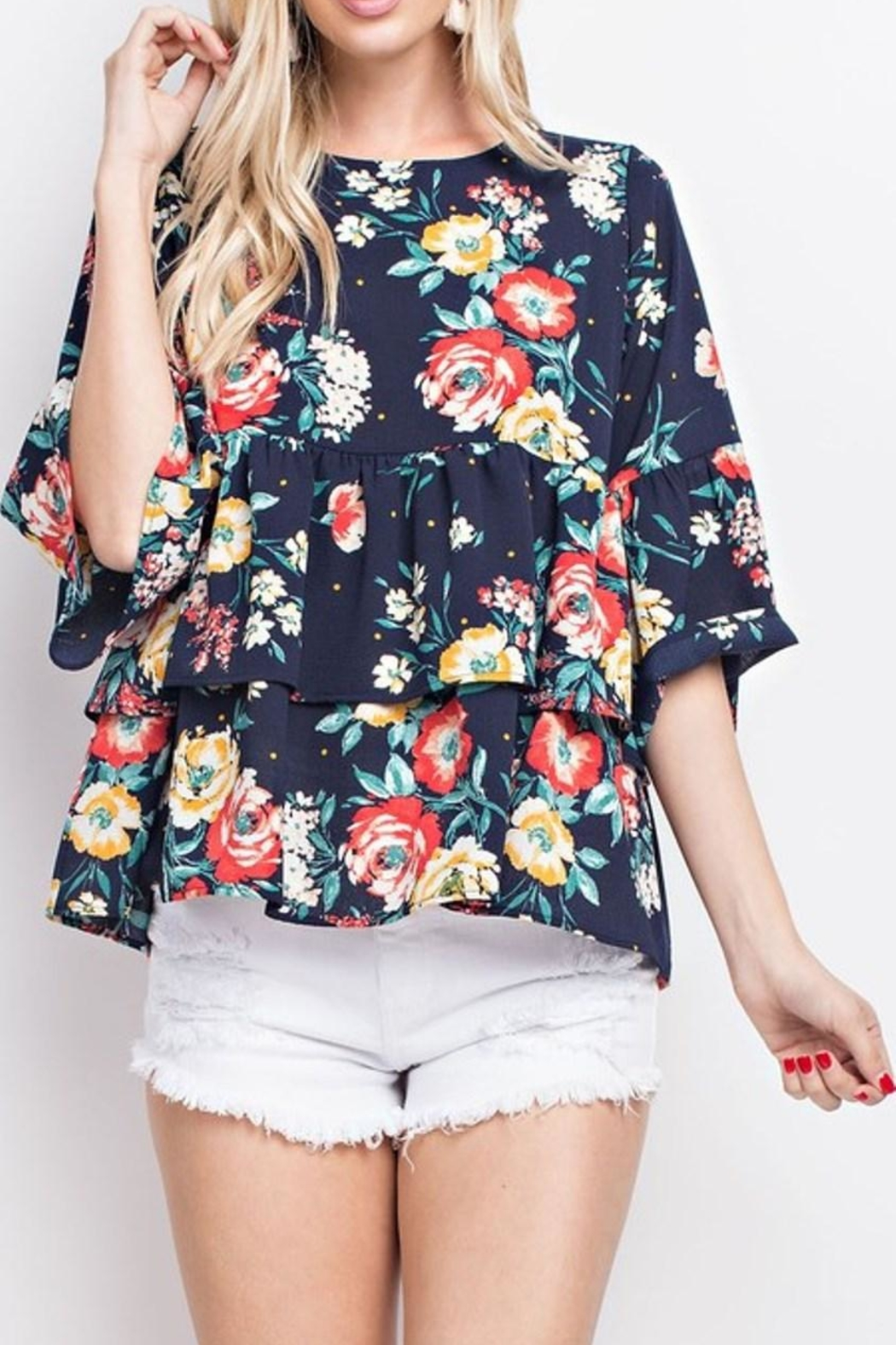 143 Story Floral Ruffle Top - Main Image