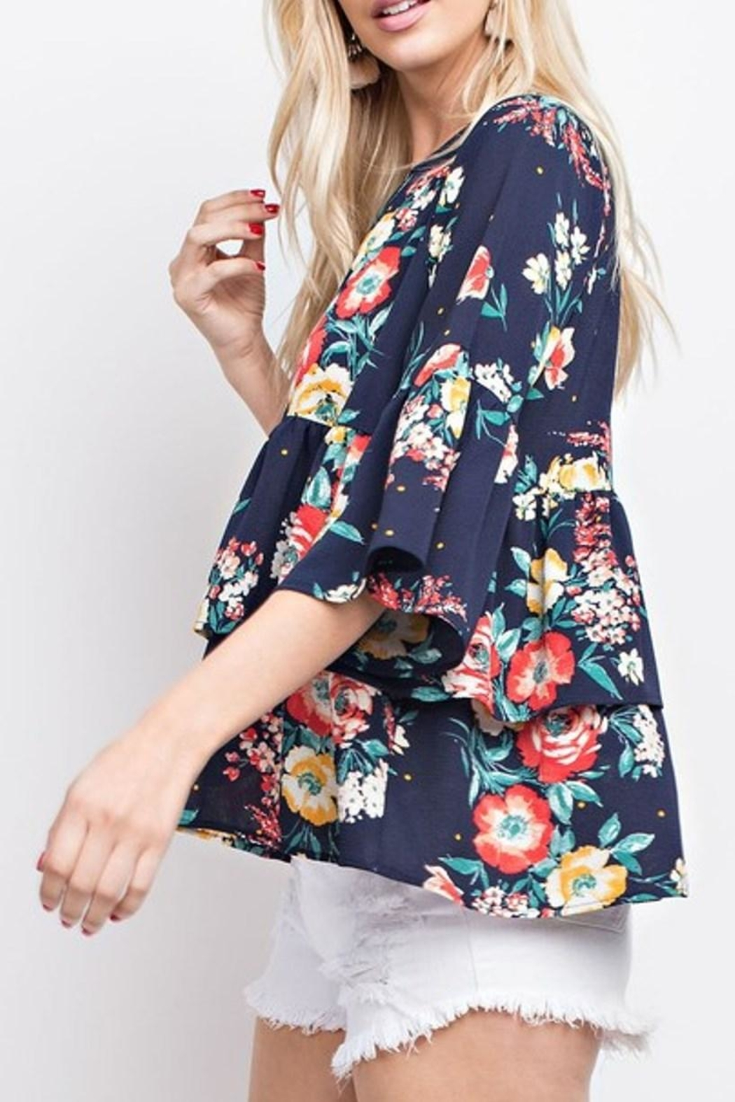 143 Story Floral Ruffle Top - Front Full Image