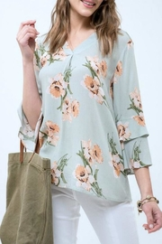 Blu Pepper Floral Ruffle Top - Front full body