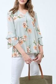 Blu Pepper Floral Ruffle Top - Product Mini Image