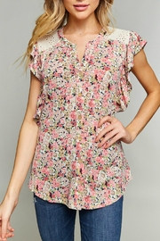 LLove USA Floral Ruffle Top - Product Mini Image