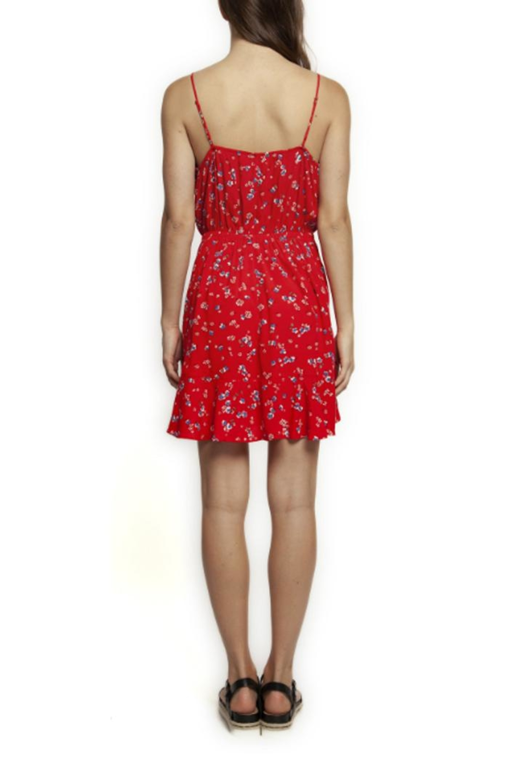 Dex Floral Ruffle Wrap-Dress - Front Full Image