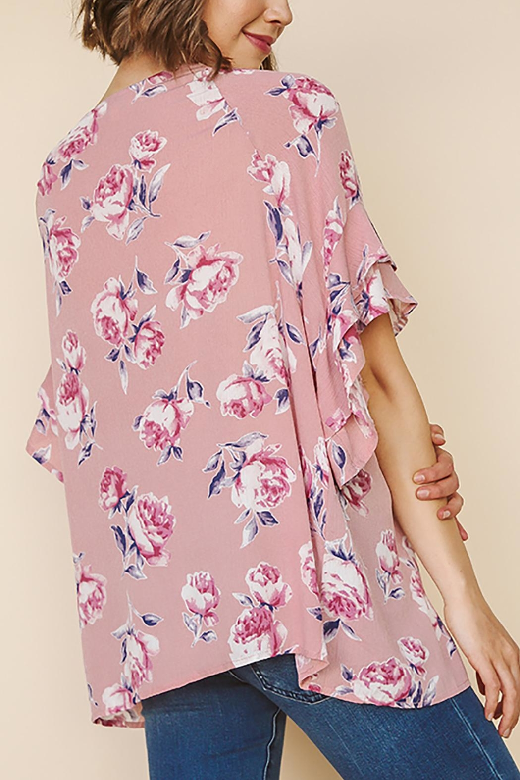 Umgee USA Floral Ruffled Top - Front Full Image