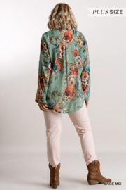 Umgee Plus  Floral Sage Blouse - Side cropped