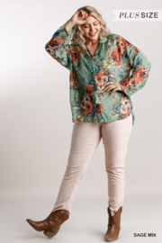 Umgee Plus  Floral Sage Blouse - Front full body