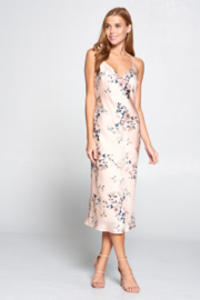 Lovely Day Floral Satin Cross Back Dress - Product Mini Image