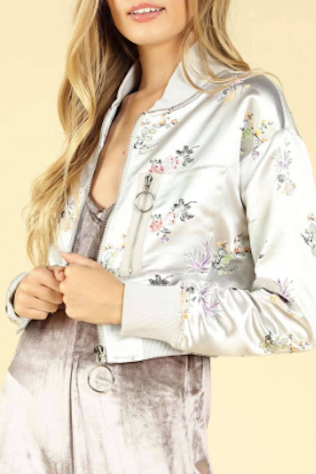 TIMELESS Floral Satin Jacket - Front Full Image