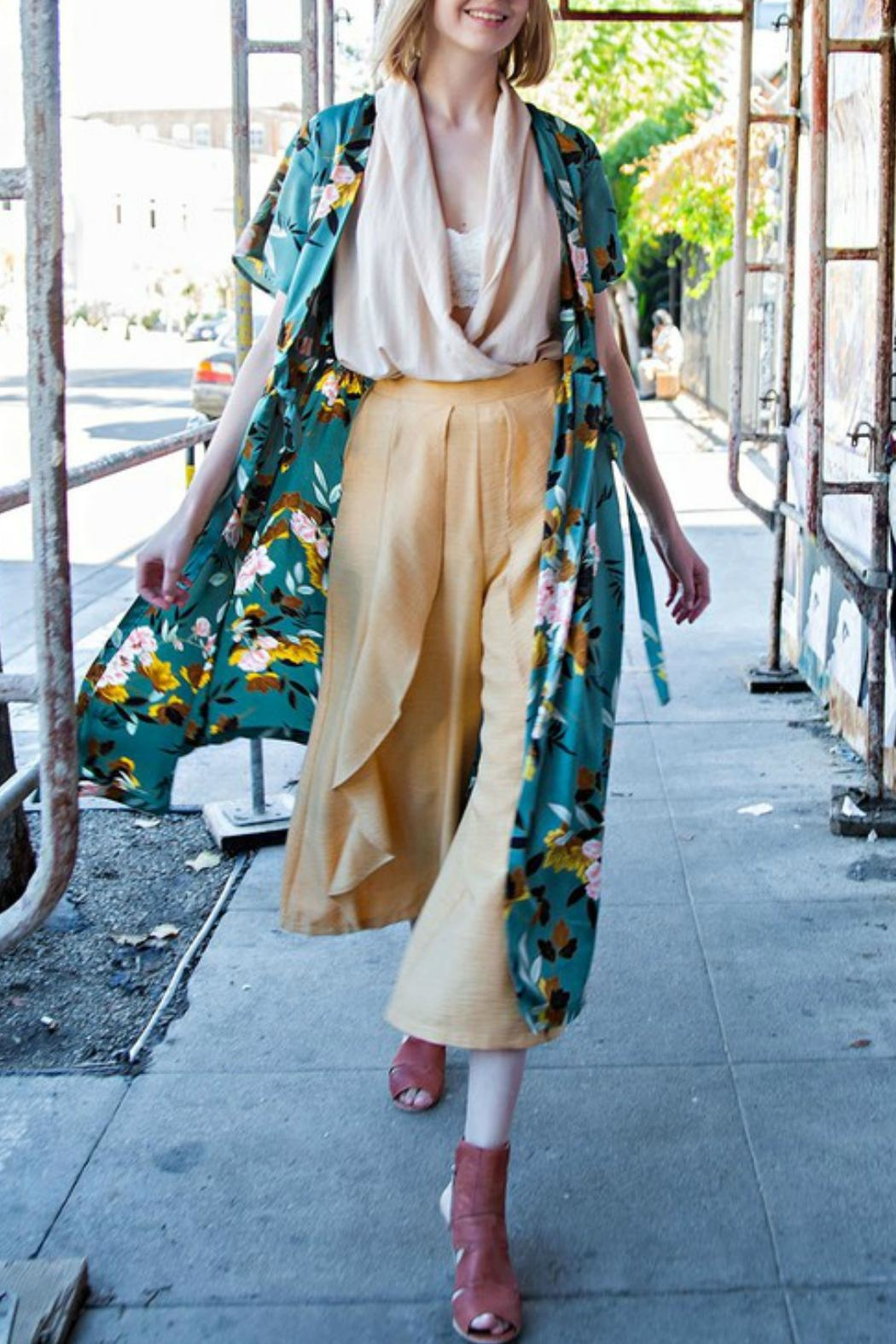 easel Floral Satin Maxi-Cardigan - Front Full Image