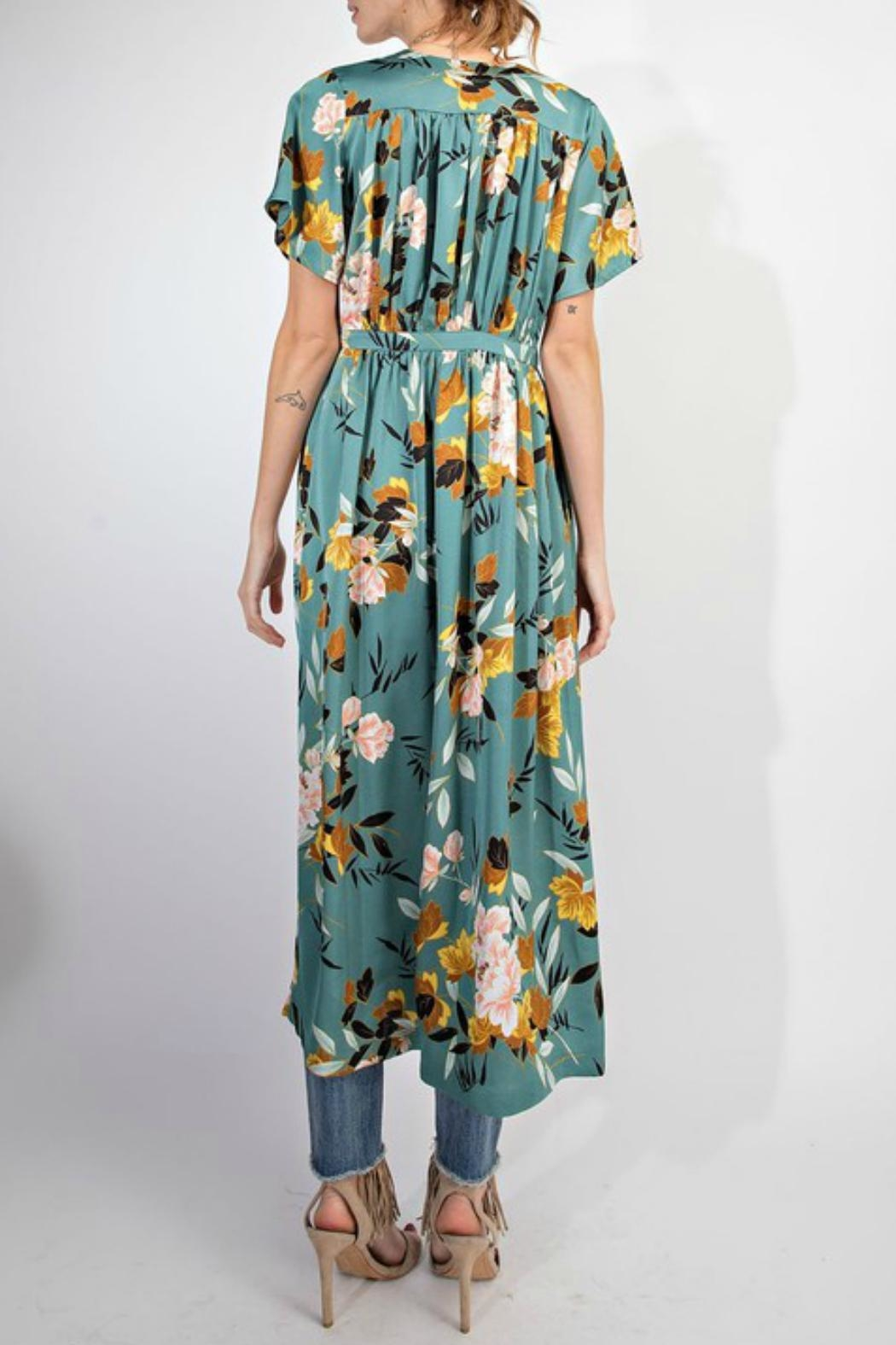 easel Floral Satin Maxi-Cardigan - Side Cropped Image